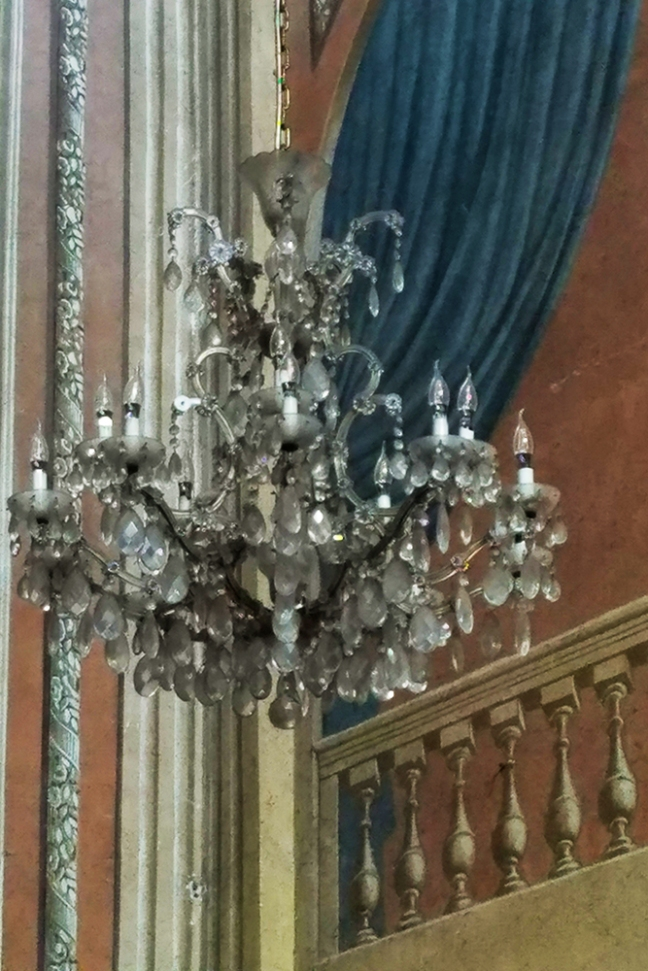 Ajaccio Cathedral Chandelier and Painted Walls (photo by Donna)